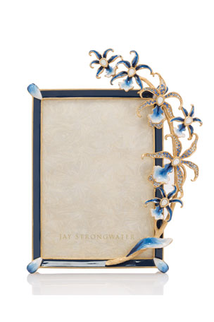 """Jay Strongwater Indigo Orchid 5"""" x 7"""" Picture Frame"""