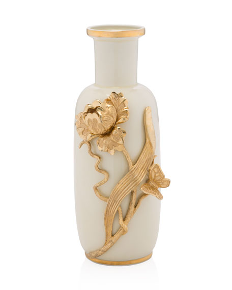 Jay Strongwater Tulip & Butterfly Vase