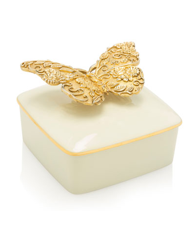Gilded Butterfly Porcelain Box