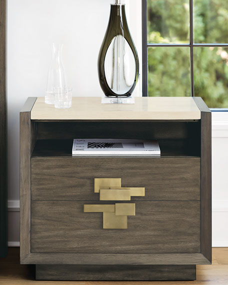 Profile Travertine Night Stand