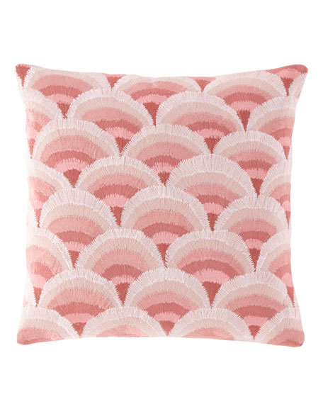 "Peacock Embroidered Slipper Pink Decorative Pillow, 18""Sq."