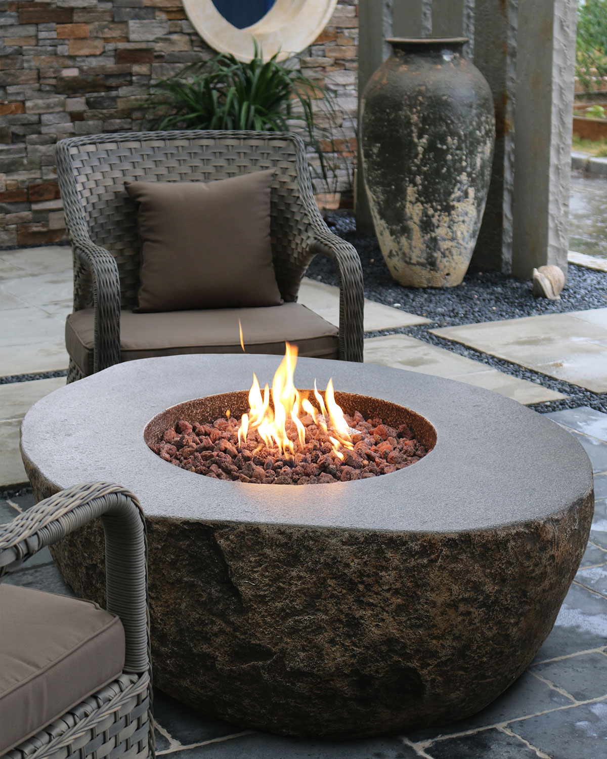Boulder Outdoor Fire Pit Table With Propane Gas Assembly