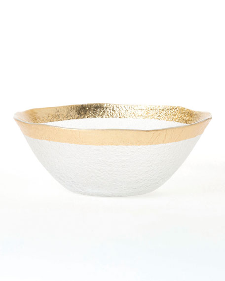 Rufolo Glass Organic Small Bowl, Gold