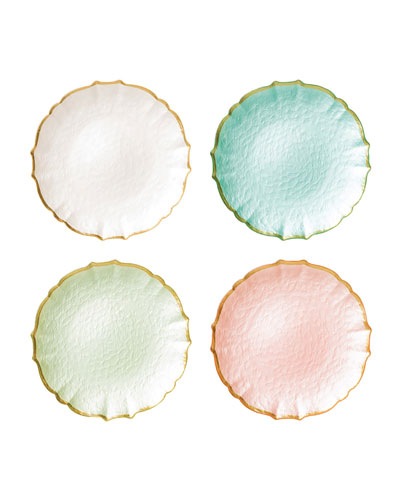 Pastel Glass Assorted Salad Plates, Set of 4