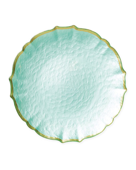 Pastel Glass Service Plate/Charger, Aqua
