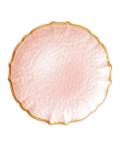 Pastel Glass Service Plate/Charger, Pink