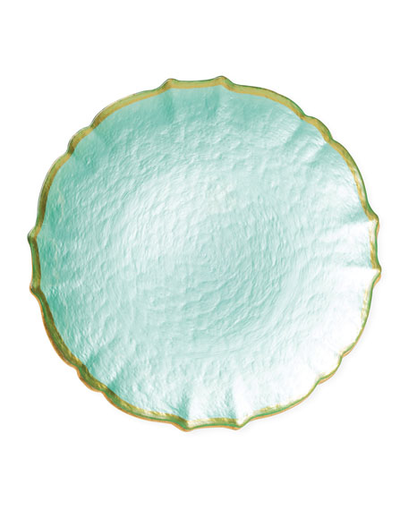 Pastel Glass Salad Plate, Aqua