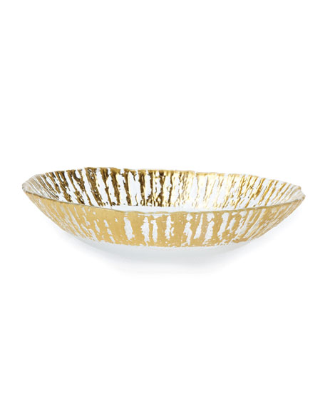 Rufolo Glass Medium Oval Serving Bowl, Gold