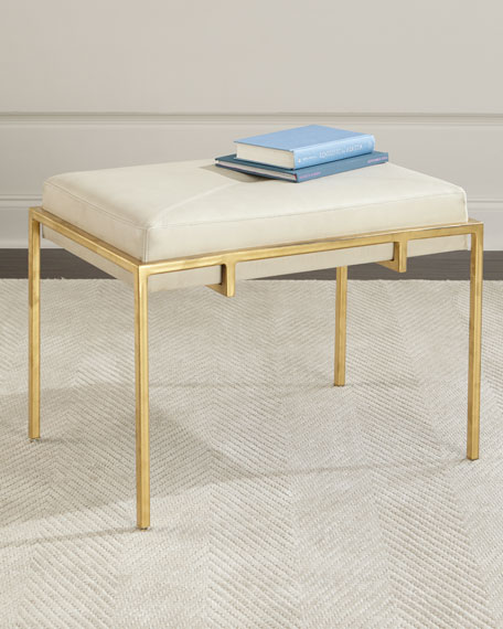 John-Richard Collection Metal and Leather Ottoman, Gold