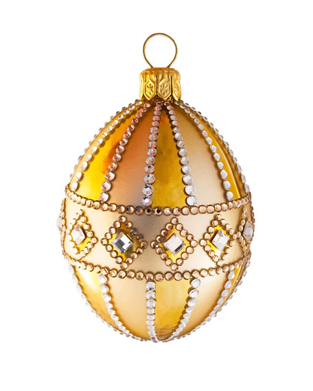 Medium Egg Frieze Crystal Ornament