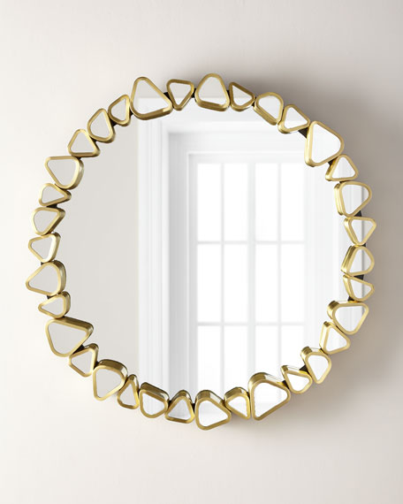 Round Mirror with Pebble Border