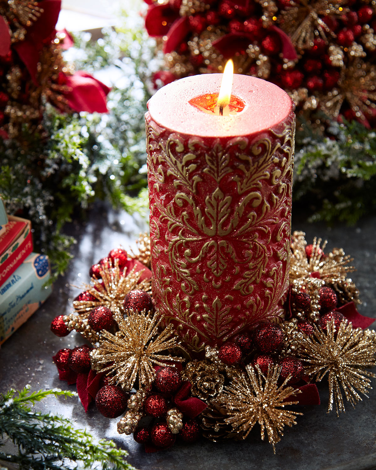 burgundy and rose gold christmas wreath candle ring 4 - Decorative Christmas Candle Rings