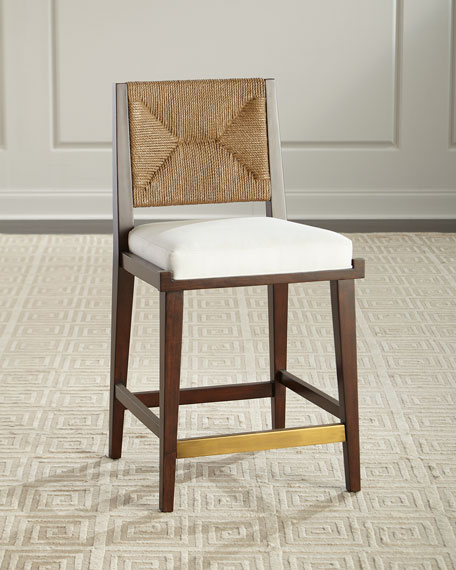 Palecek Gabby Upholstered and Jute Counter Stool and