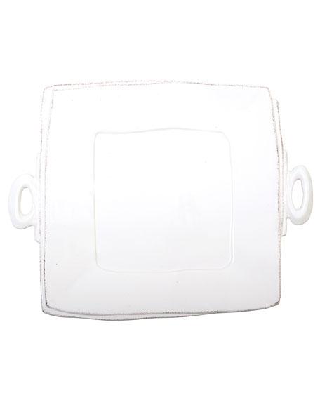 Lastra Square Handled Platter, White