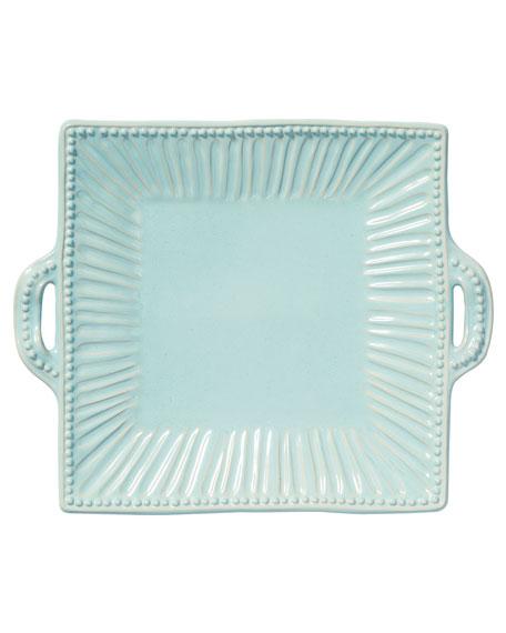 Vietri Incanto Stone Stripe Square Handled Platter, Aqua