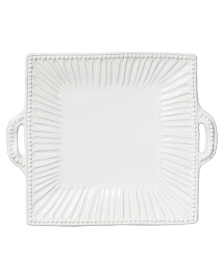 Incanto Stone Stripe Square Handled Platter, White