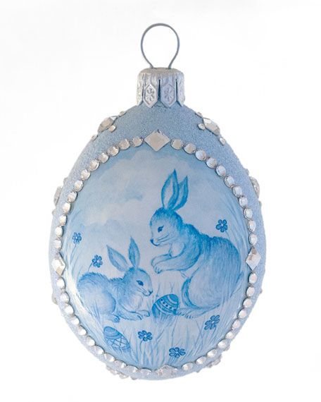 Patricia Breen Spring Pair Rabbits Medium Egg Ornament
