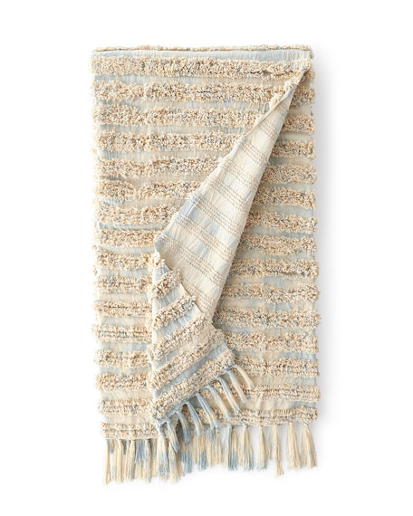 Tyra Throw with Tassels, Blue Pattern and Matching