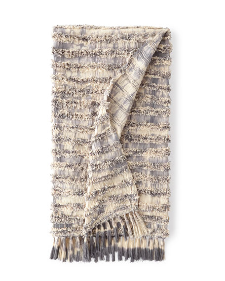 Tyra Throw with Tassels, Charcoal Grey