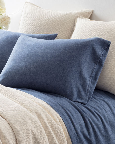 Chambray Flannel Queen Sheet Set, Blue