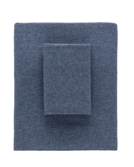 Chambray Flannel King Sheet Set, Blue