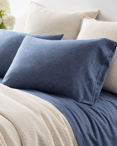 Chambray Flannel King Sheet Set, Blue