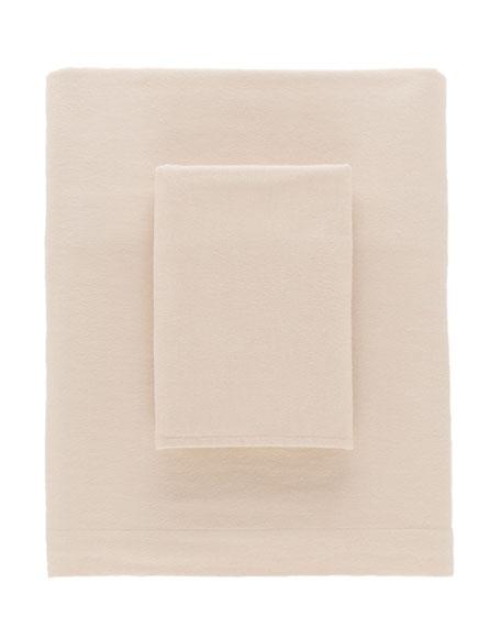 Chambray Flannel Twin Sheet Set, Beige