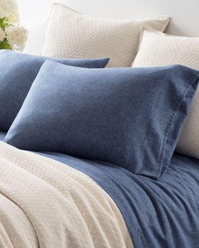 Chambray Flannel Twin Sheet Set, Blue