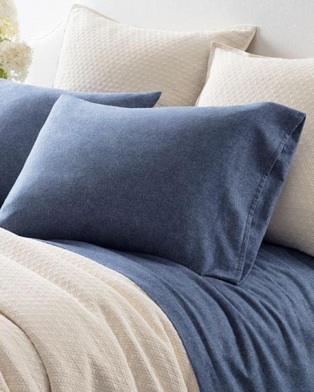Chambray Flannel Full Sheet Set, Blue