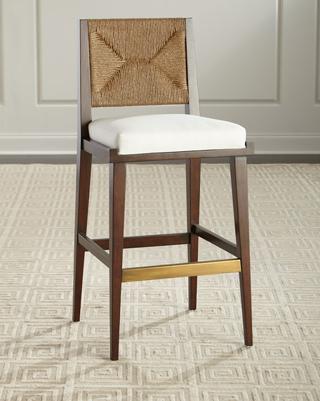 Gabby Upholstered And Jute Bar Stool