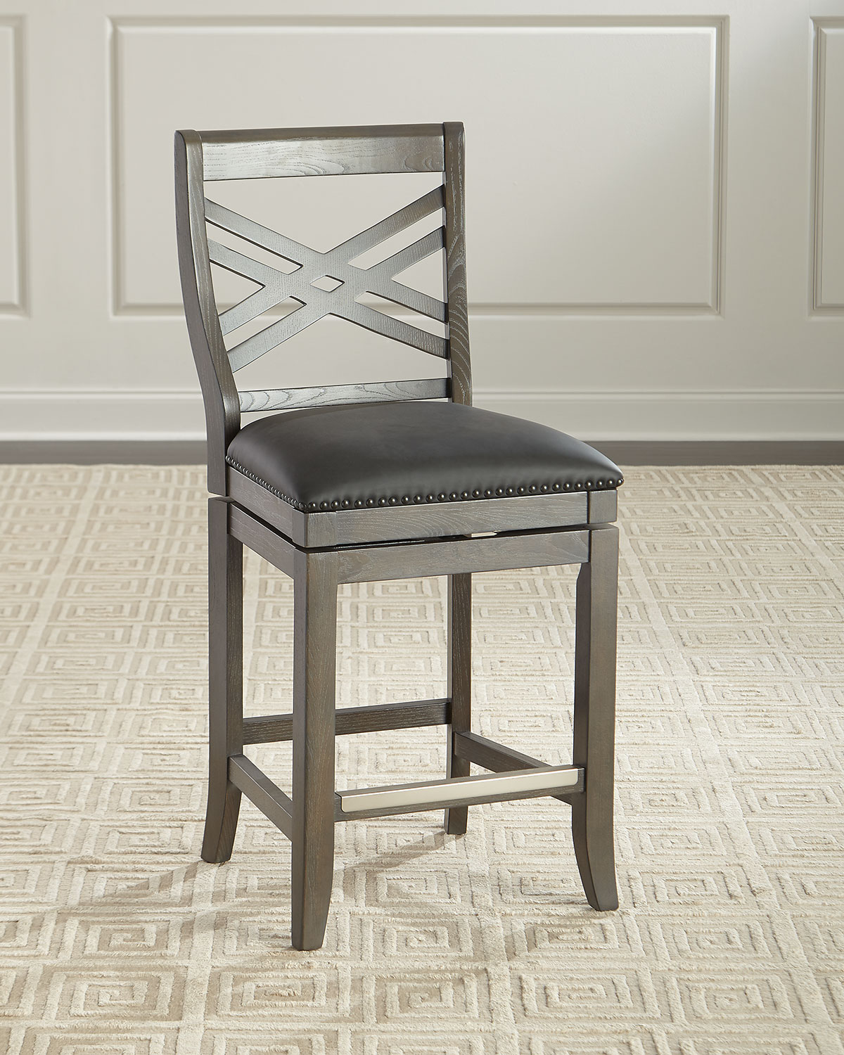 Pryce Leather Counter Stool With Memory Foam Neiman Marcus