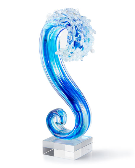 Art Glass Big Wave Glass Sculpture