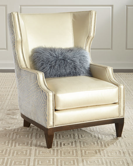 Massoud Akissa Leather Wing Chair