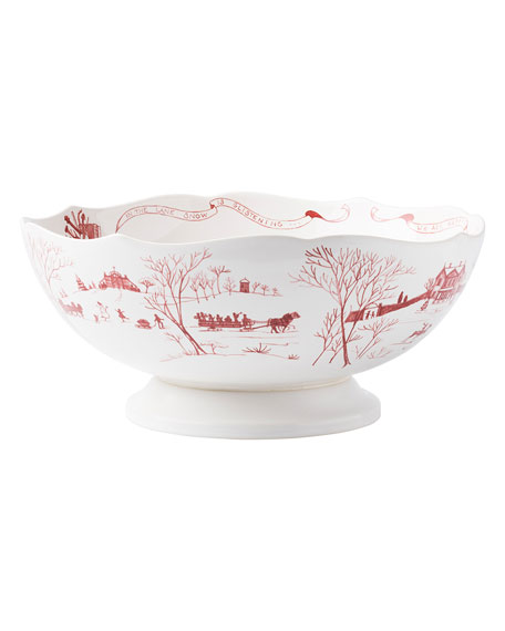 Country Estate Winter Frolic Ruby Centerpiece Bowl