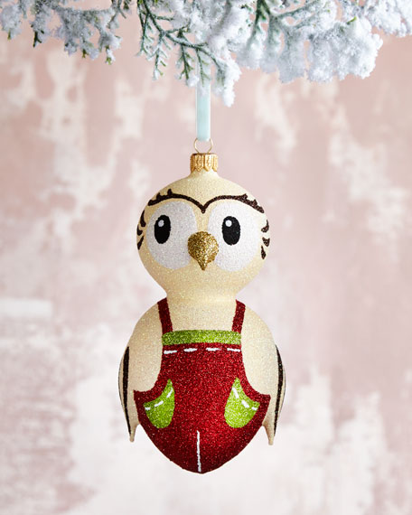 Handmade Glass Owl Christmas Christmas Ornament