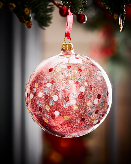 Clear Ball Christmas Ornament w/ Glitter Dots, Red
