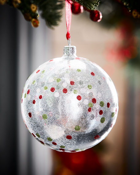 Clear Ball Christmas Ornament w/ Glitter Dots, Silver