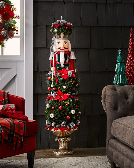 Classic Christmas Nutcracker Topiary Decor, 5'1