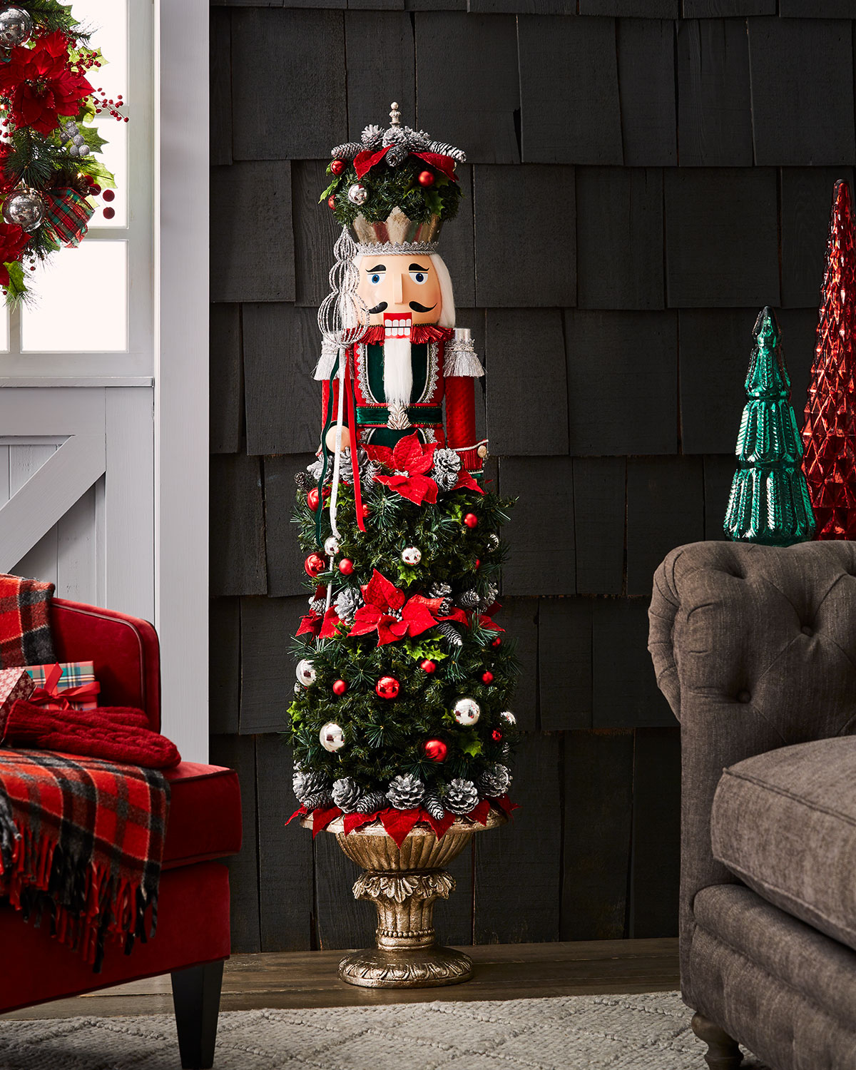 Classic Christmas Nutcracker Topiary Decor, 5'1""