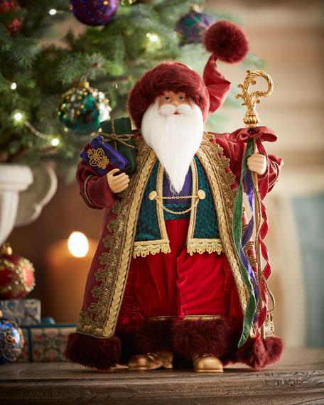 "Handmade Sparkling Jewel Tones Santa, 18"""