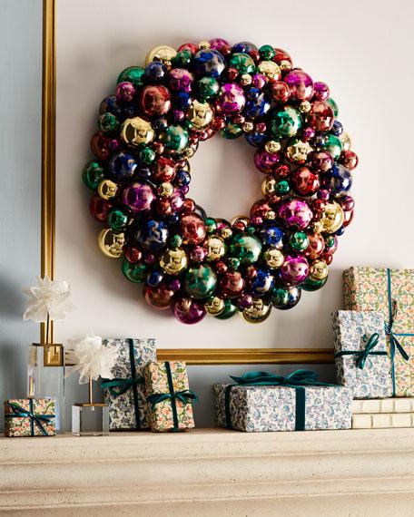 """Handmade Sparkling Jewel Tones Christmas Wreath, 24""""Dia."""