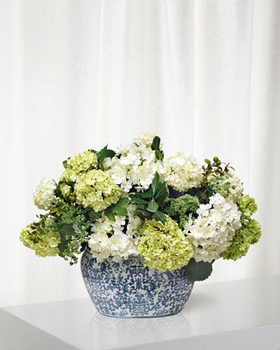 Faux floral arrangements at neiman marcus hydrangea in oval planter mightylinksfo