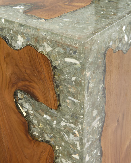 Teak and Resin Cube Accent Table