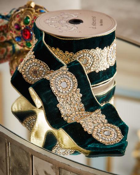 D. Stevens Jeweled Emerald Velvet Holiday Ribbon