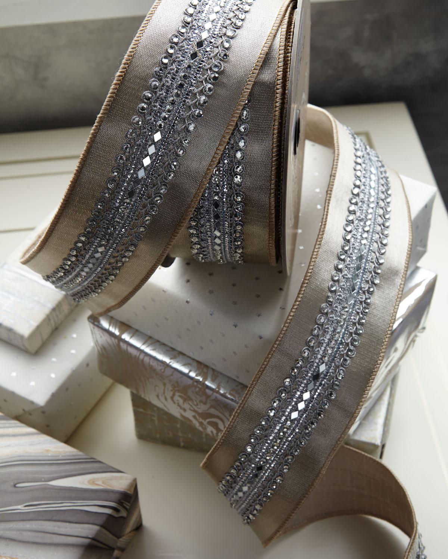 D Stevens Metallic Satin Holiday Ribbon With Crystals