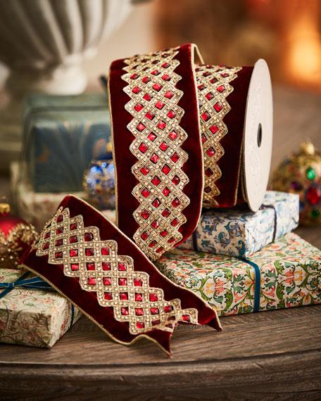 D. Stevens Velvet Jeweled-Trim Holiday Ribbon
