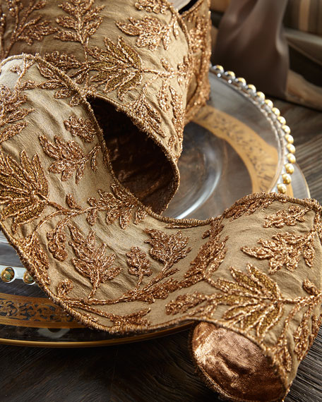 D. Stevens Taffeta Metallic Floral Embroidery Holiday Ribbon