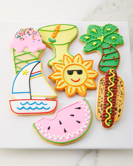 Summer Time Hand-Decorated Butter Cookies, Set of 7
