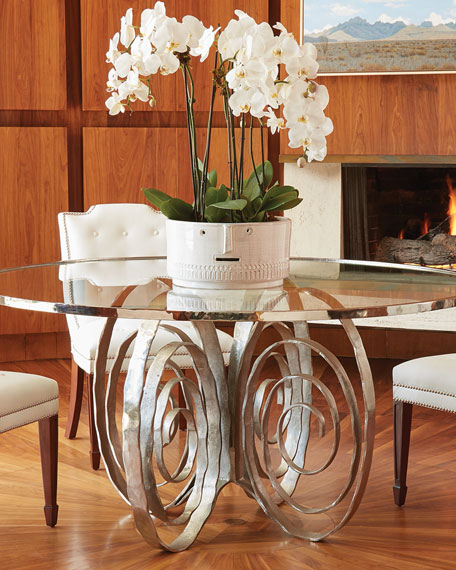 Global Views Delicate Scroll Glass-Top Dining Table and