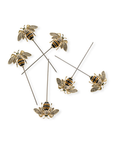 Bee Cocktail Picks  Set of 6